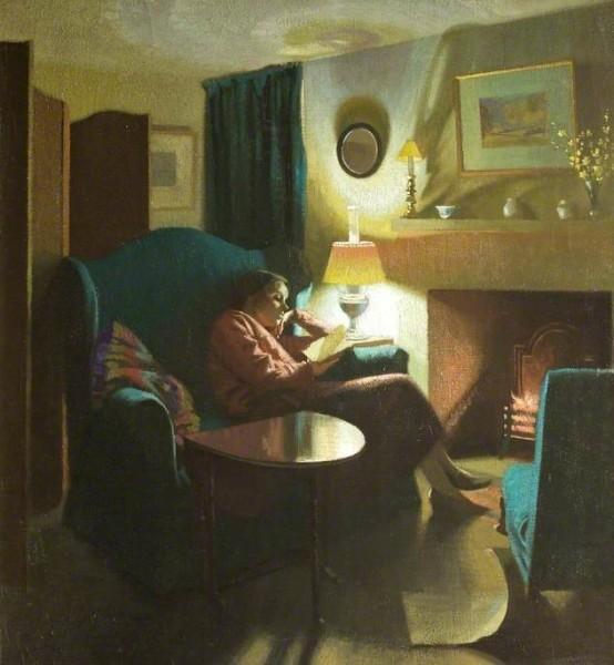 Gardiner, Gerald; The Artist's Wife, Evelyn, Seated, Reading; Cheltenham Art Gallery & Museum; http://www.artuk.org/artworks/the-artists-wife-evelyn-seated-reading-61796