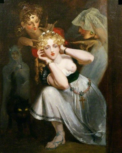 von Holst, Theodor Matthias; Bertalda Frightened by Apparitions; Cheltenham Art Gallery & Museum; http://www.artuk.org/artworks/bertalda-frightened-by-apparitions-61849