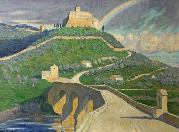 Fisher, Janet C.; Rainbow over Assisi, Italy; Cheltenham Art Gallery & Museum; http://www.artuk.org/artworks/rainbow-over-assisi-italy-61785