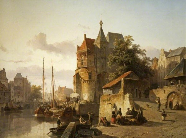 Springer, Cornelis; Fortified Buildings on the Banks of a Canal; Cheltenham Art Gallery & Museum; http://www.artuk.org/artworks/fortified-buildings-on-the-banks-of-a-canal-62048