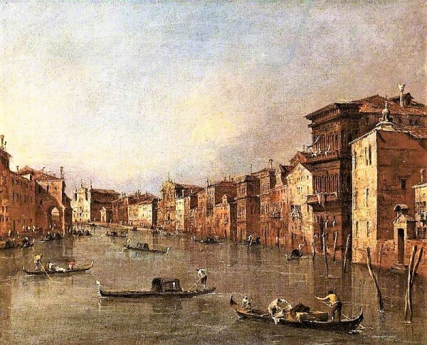 Guardi, Francesco; The Grand Canal, Venice, Italy, Looking towards Santa Maria degli Scalzi and Santa Lucia; Cheltenham Art Gallery & Museum; http://www.artuk.org/artworks/the-grand-canal-venice-italy-looking-towards-santa-maria-degli-scalzi-and-santa-lucia-61820